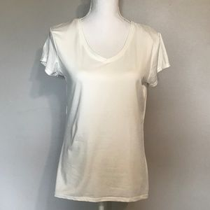 Poof Women's Top T Shirt White Size XL Pima Cotton